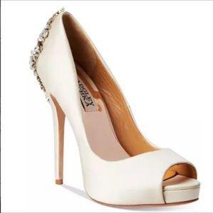 Badgley mischka- kiara embellished peep toe heel